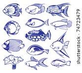 tropical fish set. raster... | Shutterstock . vector #74723479