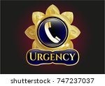 gold badge or emblem with old... | Shutterstock .eps vector #747237037