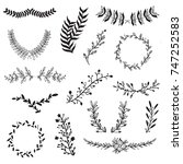 vector set of handdrawn doodle... | Shutterstock .eps vector #747252583