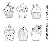 hand drawn set of 6 birthday... | Shutterstock .eps vector #747252607