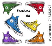 vector color canvas sneakers set   Shutterstock .eps vector #747253927