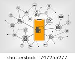 smart home automation concept... | Shutterstock .eps vector #747255277