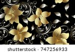 3d golden flowers seamless pattern. Floral background. Vintage 3d wallpaper. Swirl line art tracery floral ornaments. Ornate surface vector texture. Silver leaves, dots, gold 3d flowers with shadows | Shutterstock vector #747256933