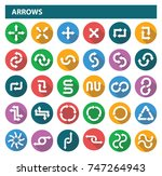 set of flat arrows with long... | Shutterstock .eps vector #747264943