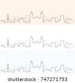 lima hand drawn skyline | Shutterstock .eps vector #747271753