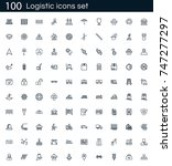 logistics icon set with 100... | Shutterstock .eps vector #747277297