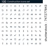 construction icon set with 100... | Shutterstock .eps vector #747277843