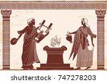 ancient greek goddess aphrodite ... | Shutterstock .eps vector #747278203