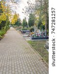 Small photo of Pruszcz Gdanski, Poland - October 30, 2017: View on a cemetary before All Saints' Day.