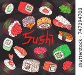 cafe menu background with sushi ... | Shutterstock .eps vector #747294703