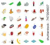 museum icons set. isometric... | Shutterstock .eps vector #747304837