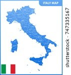 the detailed map of the italy... | Shutterstock .eps vector #747335167