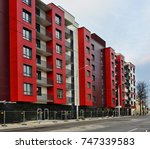 red house. blocks. high rise... | Shutterstock . vector #747339583