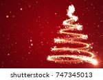 christmas tree background  ... | Shutterstock . vector #747345013