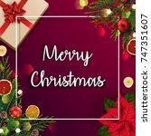 merry christmas card template... | Shutterstock . vector #747351607