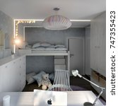 child room interior with toy... | Shutterstock . vector #747355423