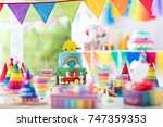 kids birthday party decoration. ... | Shutterstock . vector #747359353