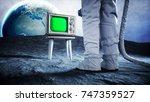 alone astronaut on the moon...   Shutterstock . vector #747359527