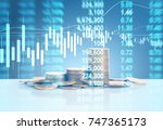 graph coins stock finance and... | Shutterstock . vector #747365173