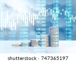 graph coins stock finance and... | Shutterstock . vector #747365197