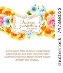 vintage delicate invitation... | Shutterstock . vector #747368023