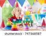 kids birthday party. child... | Shutterstock . vector #747368587