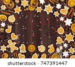christmas cookie tree made with ... | Shutterstock . vector #747391447