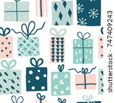 party presents doodle colorful... | Shutterstock .eps vector #747409243