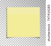 office yellow paper sticky note ... | Shutterstock .eps vector #747414283
