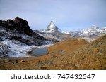 panorama view of matterhorn as... | Shutterstock . vector #747432547