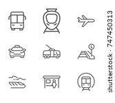 transport line icon set | Shutterstock .eps vector #747450313