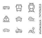 transport line icon set | Shutterstock .eps vector #747456313