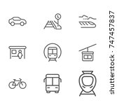 transport line icon set | Shutterstock .eps vector #747457837
