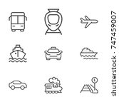 transport line icon set | Shutterstock .eps vector #747459007