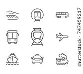 transport line icon set | Shutterstock .eps vector #747459217