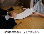 legal counsel presents to the... | Shutterstock . vector #747460273