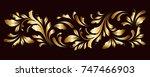 golden border. floral swirls... | Shutterstock .eps vector #747466903
