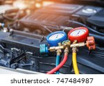 monitor tool on car engine... | Shutterstock . vector #747484987