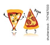 pizza slices character  sketch...   Shutterstock .eps vector #747487033