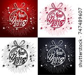 happy new year 2018 with... | Shutterstock .eps vector #747489607