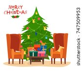 chairs with gifts on table.... | Shutterstock .eps vector #747509953