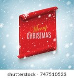 merry christmas red scroll... | Shutterstock .eps vector #747510523