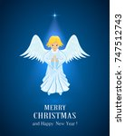 christmas star and little angel ... | Shutterstock .eps vector #747512743