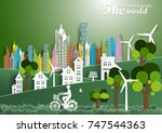 illustration of eco and world... | Shutterstock .eps vector #747544363