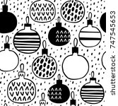 seamless pattern with christmas ... | Shutterstock .eps vector #747545653