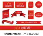 scroll red  merry christmas ... | Shutterstock .eps vector #747569053
