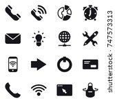 16 vector icon set   phone ... | Shutterstock .eps vector #747573313