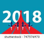 business people running to 2018.... | Shutterstock .eps vector #747576973