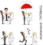 set of wedding pictures  bride...   Shutterstock .eps vector #74758411