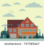 suburban house  cottage on... | Shutterstock . vector #747585667